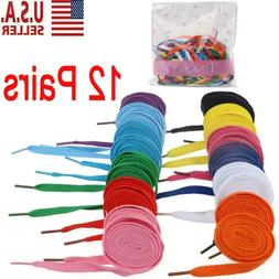 12 Pairs Flat Shoelaces Shoe Laces Strings for Sports Shoes