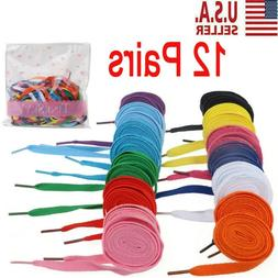 12 Pairs of Flat Shoelaces Shoe Laces Strings for Sports Sho