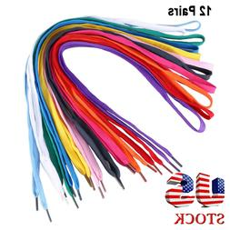 12 Pairs of Replacement Flat Shoelaces Shoe Laces Strings fo