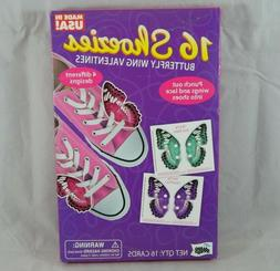 16 Count Valentines Day Cards Shoezies Punch-Out Butterfly S