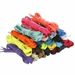 20 Pairs Flat Colored Shoelaces for Sneakers Skate Shoes