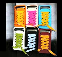 3D Shoe Lace Design Soft Back Case Cover for iPhone 4/4s, In