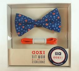Brand New!! Izod  Floral Pre-Tied Bow Tie And Shoelace Set -