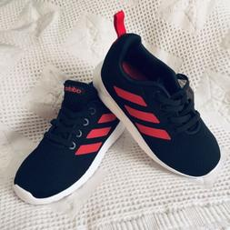 ADIDAS LITE RACER CLN SHOES Black And Red Stripe Boys Sneake