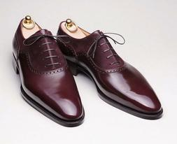 Handmade Purple Leather Formal Dress Shoes for men, Two Tone