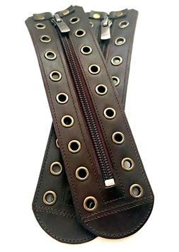 Real brown leather zipper lace-up  5 to 15 color eyelets