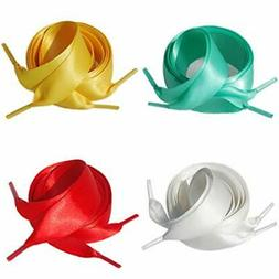 Satin Ribbon Shoelaces for Women Girls 7 Combinations 4 Colo