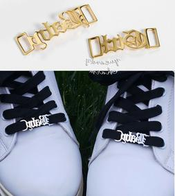 Set of 2 USA Personalized Gold Custom Name Shoelaces buckle