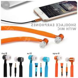 Shoelace Earphones With Microphone,In-Ear Stereo Bass Headse