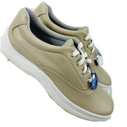 Keds Stretch Pure Fit Women Sz 7 Beige Leather Lace Up Sneak