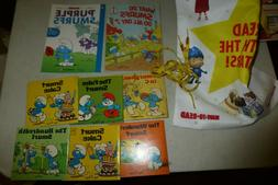 The Smurfs lot of 8 books + bookbag/shoelaces 1980s and mode