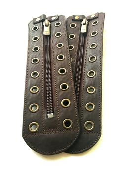 Unisex Brown leather zipper lace-up  5 to 15 color eyelets
