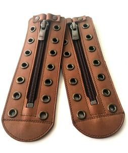 Unisex Light Brown leather zipper lace-up  5 to 10 color eye