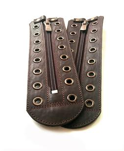 Unisex real brown leather zipper lace-up  5 to 15 color eyel