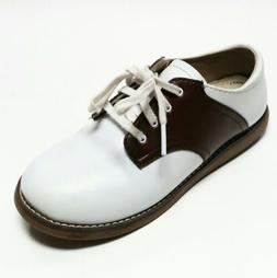 Footmates White Brown Leather Lace-Up Cheer Oxford Saddle Sh