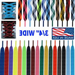 """WIDE FAT 3/4"""" Athletic FLAT Shoelace Lace Strings - 45 54 63"""
