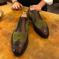 Handmade wingtip brogue shoes real leather and suede,lace Up