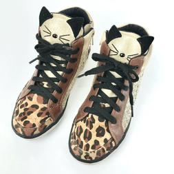 Justice Youth Girls 6 Leopard Cat Lace Up Sneaker Lace Up Sh